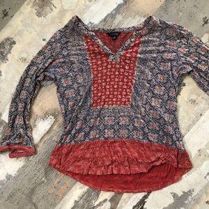 Lightweight boho lucky brand 3/4 sleeve top
